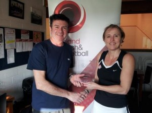 Liz Cowley South West Ladies' Vets' Racketball Champion 2014